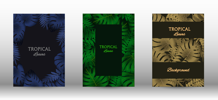 A set of tropical covers. Tropical leaves banners background. Summer graphic background. Modern Front Page in Vector