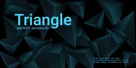 Triangle background. Abstract composition of triangular pyramids. Minimal geometric background.  3D vector illustration . Turquoise  three-dimensional triangular pyramids in space.