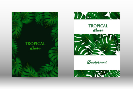 Tropic covers set.  Tropical leaves banners background. Exotic botanical design. Modern Front Page in Vector Ilustração