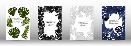 Tropic covers set.  Colorful tropical leaves patterns. Exotic botanical design. Modern Front Page in Vector Ilustração