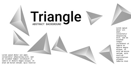 Triangle background. Abstract composition of triangular pyramids. Modern geometric background.  3D vector illustration . Silver  three-dimensional triangular pyramids in space. Illustration