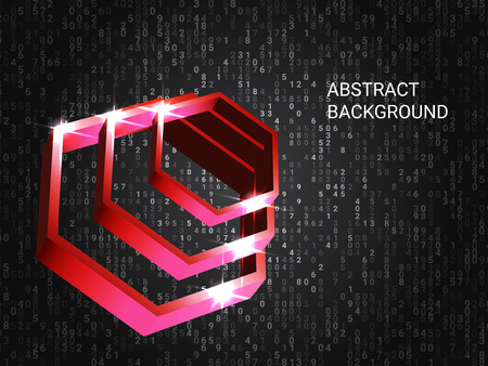 Geometric polygons sparkle on the background. 3D vector illustration . Minimal geometric background. Abstract composition. Red three-dimensional  geometric polygon in space.