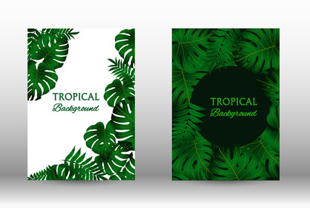 Tropic covers set.  Tropical leaves banners background. Summer graphic background. Modern Front Page in Vector Ilustração