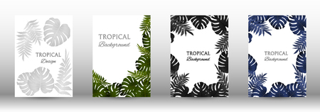 Tropic covers set.  Colorful tropical leaves patterns. Exotic botanical design. Modern Front Page in Vector illustration