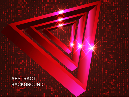 Geometric triangles sparkle on the background. Futuristic geometric background. Abstract composition. 3D vector illustration . Red  three-dimensional  geometric triangle in space. 일러스트