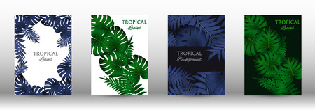 Tropic covers set.  Colorful tropical leaves patterns. Summer graphic background. Modern Front Page in Vector illustration 일러스트