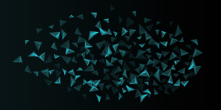 Triangle background. Abstract composition of triangular crystals. Futuristic geometric background.  3D vector illustration . Turquoise  three-dimensional  triangular crystals in space.