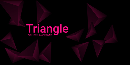 Triangle background. Abstract composition of triangular pyramids. Futuristic geometric background.  3D vector illustration . Mangent  three-dimensional triangular pyramids in space.