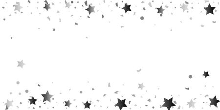 Silver glitter confetti of stars on a white background. Illustration of glittering confetti stars for your design. Decorative element. VIP cards, invitations, gift. 일러스트