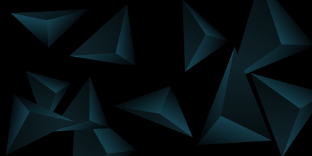 Triangular background. Abstract composition of 3d triangles. Modern geometric background.  3D vector illustration . Turquoise  three-dimensional triangle in space. 일러스트