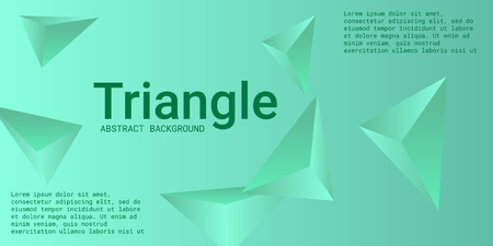 Triangle background. Abstract composition of triangular crystals. Minimal geometric background.  3D vector illustration . Green  three-dimensional  triangular crystals in space. 일러스트