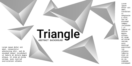 Triangular background. Abstract composition of 3d triangles. Futuristic geometric background.  3D vector illustration . Silver  three-dimensional triangle in space.