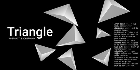 Triangle background. Abstract composition of triangular pyramids. 3D vector illustration . Modern geometric background.  Metal  three-dimensional triangular pyramids in space.