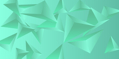 Triangle background. Abstract composition of triangular pyramids. Futuristic geometric background.  3D vector illustration . Green  three-dimensional triangular pyramids in space.