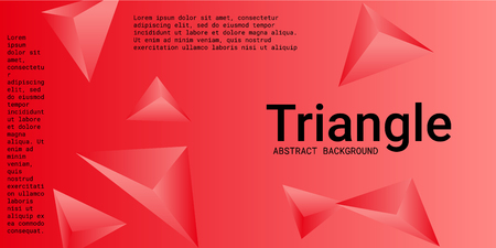 Abstract composition of  triangle. Modern geometric background.  3D vector illustration . Red  three-dimensional  geometric triangle in space.