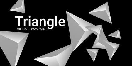 Abstract composition of  triangle. 3D vector illustration . Futuristic geometric background.  Metal  three-dimensional  geometric triangle in space.