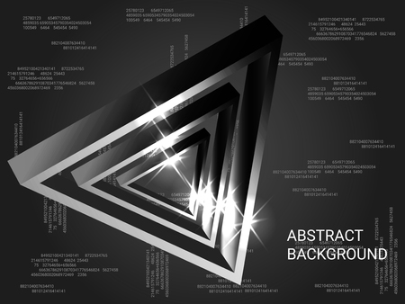 Triangle volume sparkle on background. 3D vector illustration . Minimal geometric background. Abstract composition. Silver  three-dimensional triangle in space.