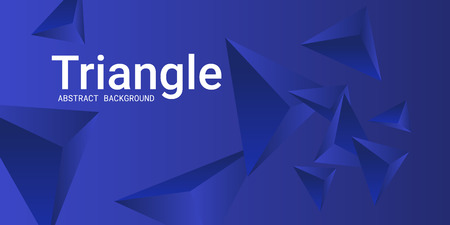 Triangle background. Abstract composition of triangular crystals. Modern geometric background.  3D vector illustration . Blue  three-dimensional  triangular crystals in space.