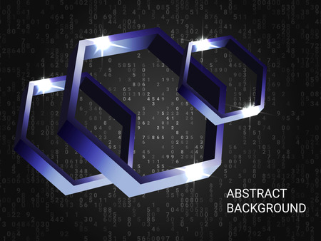 Metal polygons sparkle on the background. 3D vector illustration . Creative geometric background. Abstract composition. Violet three-dimensional metal polygon in space.