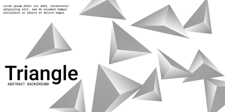 Triangle background. Abstract composition of triangular pyramids. 3D vector illustration . Creative geometric background.  Silver  three-dimensional triangular pyramids in space.