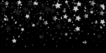 Silver glitter confetti of stars on a black background. Illustration of shiny silver stars. Decorative element. VIP cards, invitations, gift, luxury background for your design.