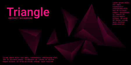 Abstract composition of  triangle. Minimal geometric background.  3D vector illustration . Mangent  three-dimensional  geometric triangle in space. 일러스트