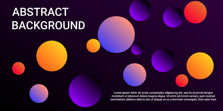Colored balls. Minimal design of coverages. Vector geometric illustration. Halftone, 3d. Abstract background of  violet, orange, red  colored balls.