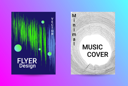 Music Cover design. A set of modern abstract backgrounds. Abstract party posters. Futuristic wave patterns are distorted with dotted lines. Techno Music Festival Advertising. Dance party background. 向量圖像
