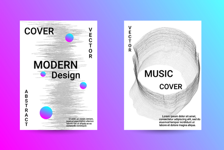 Music Cover design. A set of modern abstract backgrounds. Abstract party posters. Futuristic wave patterns are distorted with dotted lines. Techno Music Festival Advertising. Dance party background. Foto de archivo - 123158614