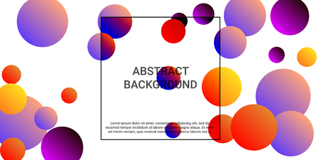 Balls shapes. Minimal design of coverages. Vector geometric illustration. Halftone, 3d. Abstract background of  violet, red, yellow  balls shapes.