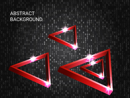 Metal triangles sparkle on the background. 3D vector illustration. Minimal geometric background. Abstract composition. Red three-dimensional metal triangle in space.