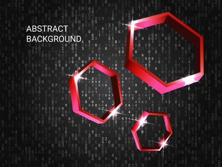Polygon volume sparkle on background. 3D vector illustration. Futuristic geometric background. Abstract composition. Red three-dimensional polygon in space.