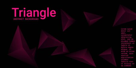 Abstract composition of  triangle. Minimal geometric background. 3D vector illustration. Three-dimensional geometric triangle in space.