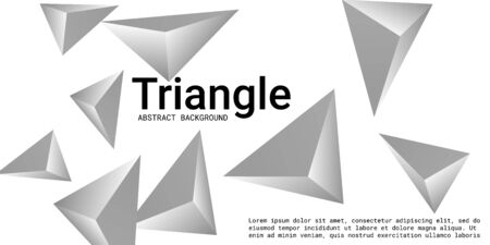 Abstract composition of  triangle. Futuristic geometric background.  3D vector illustration . Silver  three-dimensional  geometric triangle in space.