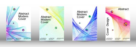 Minimum coverage of a vector. Cover design.  A set of modern abstract oblong objects from vector abstract lines. Иллюстрация