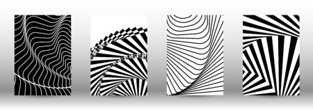Optical contrast. Set of abstract patterns with distorted lines. Black and white striped psychedelic background. Abstract vector illustration.You can use for design covers, cards,posters. Иллюстрация