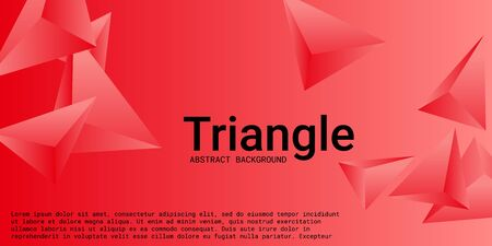 Abstract composition of  triangle. 3D vector illustration . Creative geometric background.  Red  three-dimensional  geometric triangle in space.