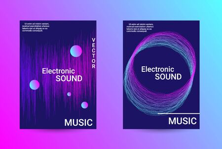 Music Cover design. A set of modern abstract backgrounds. Abstract party posters. Futuristic wave patterns are distorted with dotted lines. Techno Music Festival Advertising. Dance party background. Иллюстрация