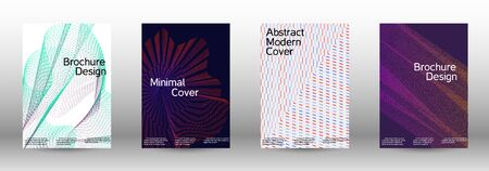 Electronic music festival poster. Cover design template set of a with abstract gradient linear waves. Vector sound flyer for creating a fashionable abstract cover, banner, poster, booklet.