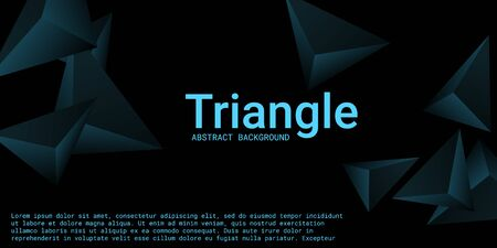 Triangle background. Abstract composition of triangular pyramids. Futuristic geometric background.  3D vector illustration . Turquoise  three-dimensional triangular pyramids in space.