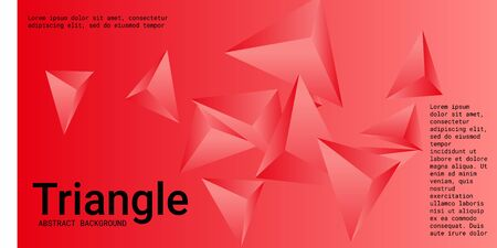 Triangle background. Abstract composition of triangular crystals. Modern geometric background.  3D vector illustration . Red  three-dimensional  triangular crystals in space.