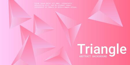 Abstract composition of  triangle. Creative geometric background.  3D vector illustration . Pink  three-dimensional  geometric triangle in space.