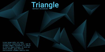 Triangle background. Abstract composition of triangular crystals. 3D vector illustration . Minimal geometric background.  Turquoise  three-dimensional  triangular crystals in space.