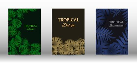 Tropic covers set.  Tropical leaves banners background. Summer graphic background. Modern Front Page in Vector Иллюстрация