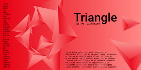 Triangle background. Abstract composition of triangular crystals. 3D vector illustration . Creative geometric background.  Red  three-dimensional  triangular crystals in space.