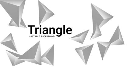 Triangle background. Abstract composition of triangular pyramids. 3D vector illustration . Modern geometric background.  Silver  three-dimensional triangular pyramids in space. Illustration