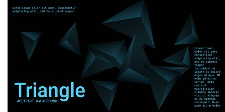 Triangle background. Abstract composition of triangular pyramids. 3D vector illustration . Minimal geometric background.  Turquoise  three-dimensional triangular pyramids in space. Illustration
