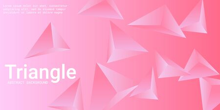 Triangular background. Abstract composition of 3d triangles. 3D vector illustration . Creative geometric background.  Pink  three-dimensional triangle in space.