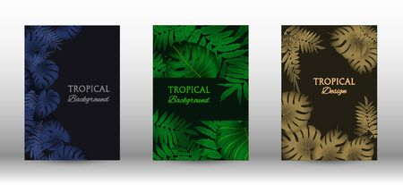 A set of tropical covers. Colorful tropical leaves patterns. Exotic botanical design. Modern Front Page in Vector