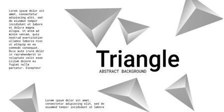 Triangular background. Abstract composition of 3d triangles. 3D vector illustration . Modern geometric background.  Silver  three-dimensional triangle in space. Illustration